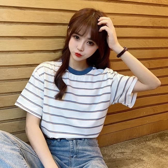 FOFU-彈性棉短袖t恤女條紋【08SG06768】