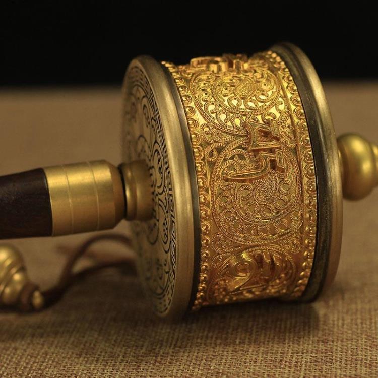 藏傳佛教用品滑順檀木純銅手搖轉經輪純銅6萬遍觀音心咒精品小號