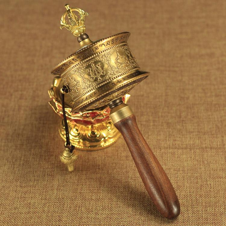 藏傳佛教用品 純銅雕刻八吉祥六字大明咒手搖轉經輪轉經筒