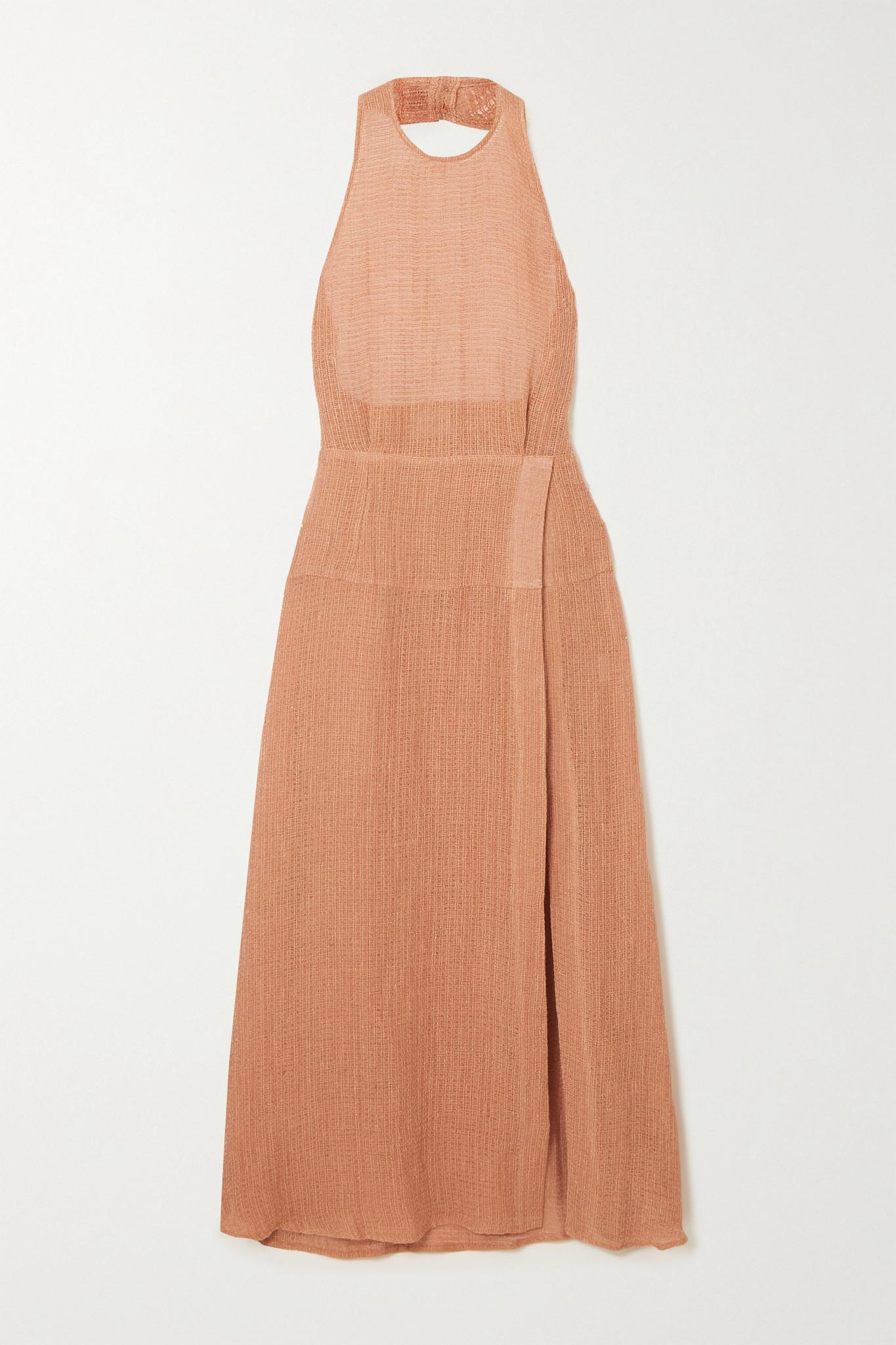 LE KASHA - + Net Sustain Dairut Organic Linen-gauze Halterneck Maxi Dress - Pink - small
