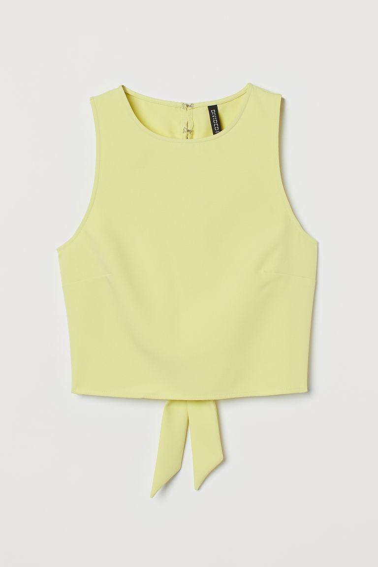H & M - 露背上衣 - 黃色