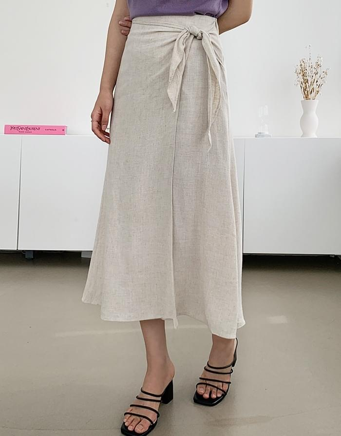 韓國空運 - Linen Knot Long Skirt 裙子