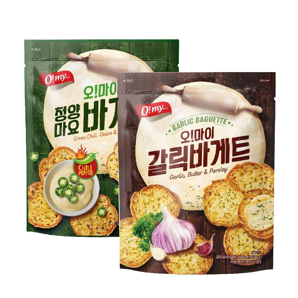 O my歐邁福 法式麵包餅乾 300g 香蒜口味/青陽辣椒美乃滋口味【美日多多】