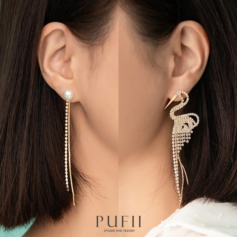 PUFII-耳環 不對稱珍珠配天鵝唯美水鑽耳環- 0429 現+預 春【CP20275】