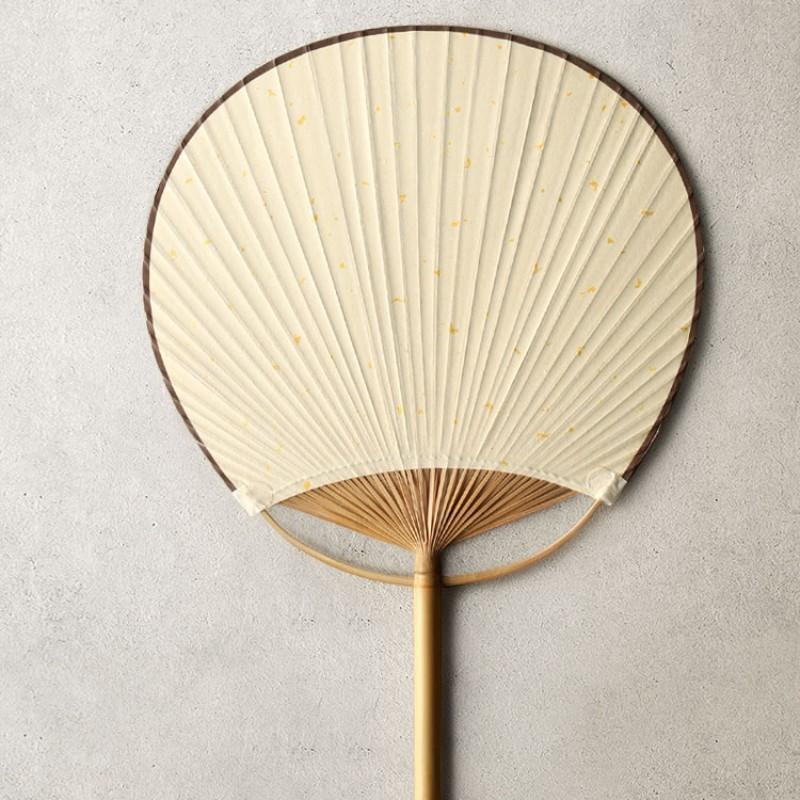 【九土JOTO】中式手工團扇子古風中國風布藝棉麻雙面圓形古典扇手繪夏季竹柄扇