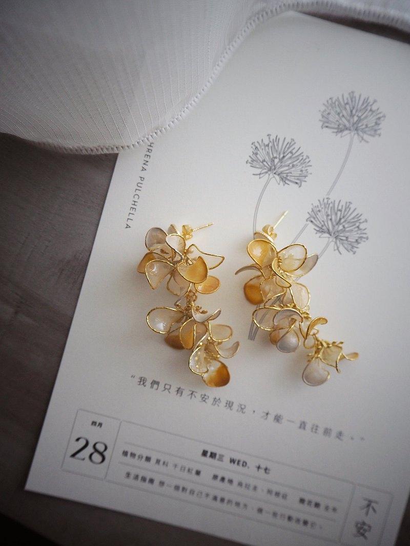 楊枝甘露 花朵垂墜式樹脂耳環
