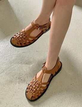 韓國空運 - Sugar Waffle Leather Flat Sandal 涼鞋