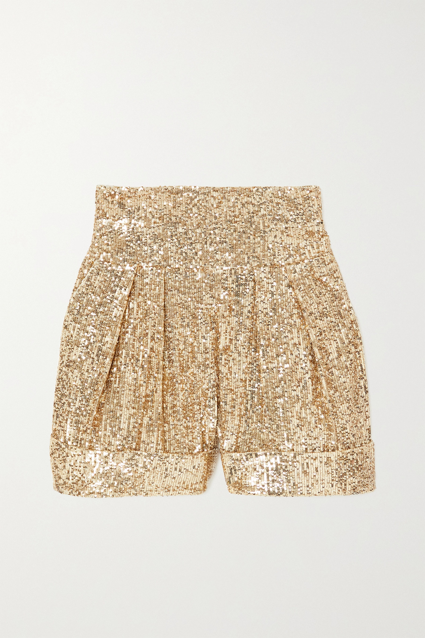 BALMAIN - Pleated Sequined Crepe Shorts - Gold - FR34