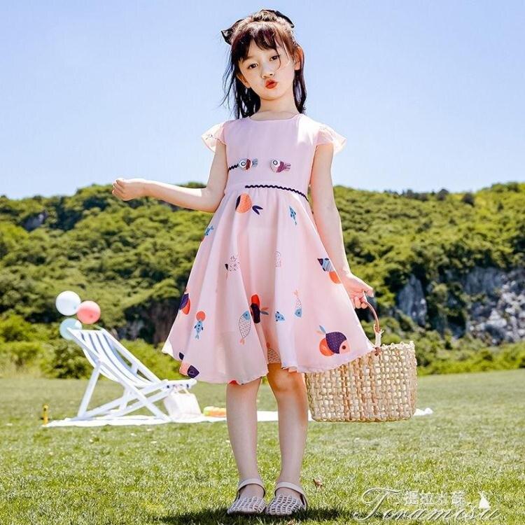 女童洋裝 女童連衣裙夏裝2021新款兒童夏季雪紡童裝裙子女孩洋氣公主裙 快速出貨