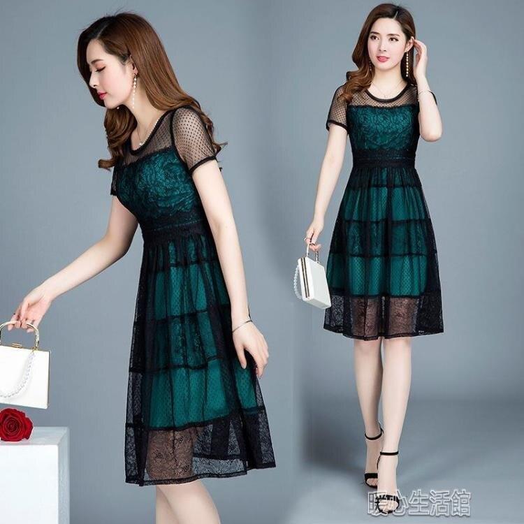 洋裝大碼女裝媽媽夏裝氣質過膝連身裙高貴中闊太太夏季洋氣裙子 快速出貨