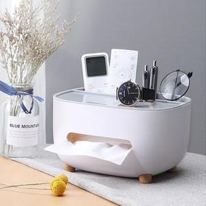桌面多功能收納面紙盒+手機支架 衛生紙盒 紙巾盒灰色