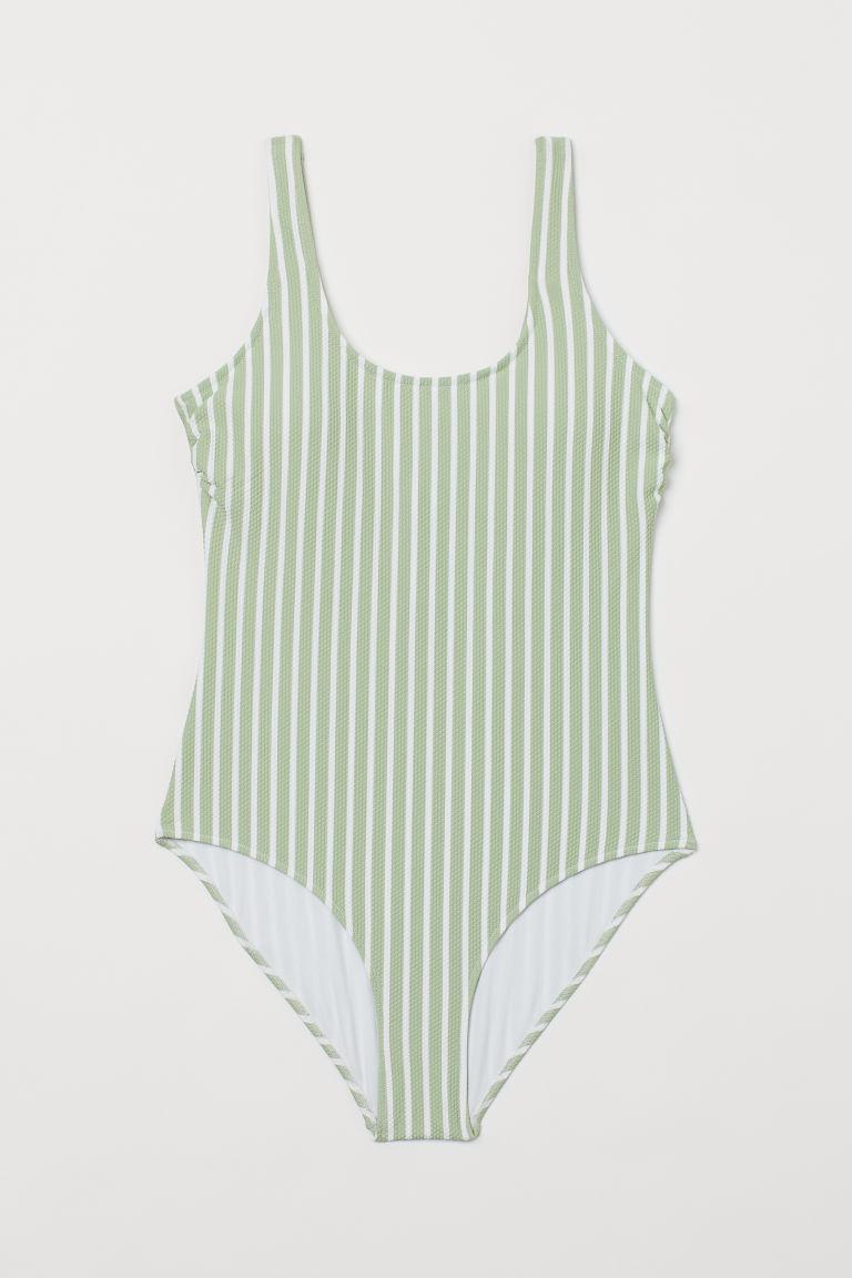 H & M - 加墊罩杯連身泳裝 - 綠色