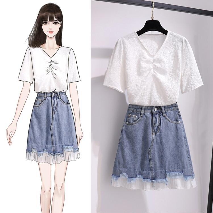 新品上架 小尺碼套裝兩件套~小清新V領韓版短袖上衣高腰牛仔裙半身裙兩件套裝2F074B