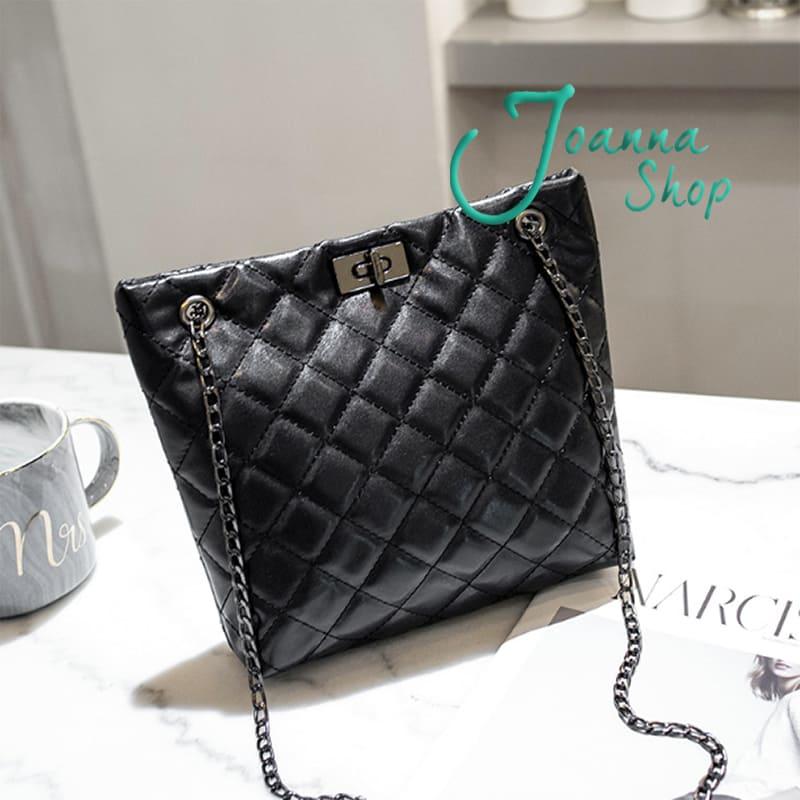 新款日韓菱格摩登菱度鎖鏈逛街潮流斜背包1-Joanna Shop