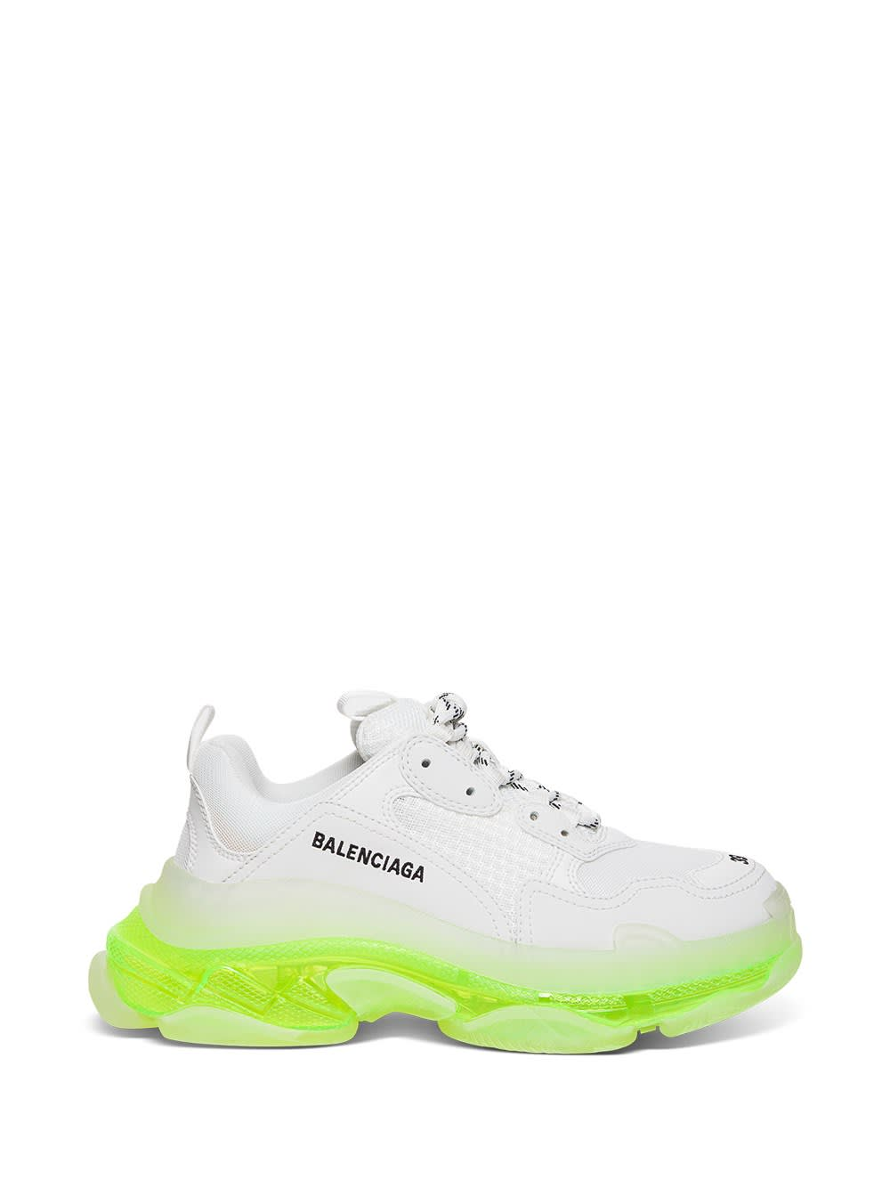 Balenciaga Triple S Clear Sole Sneakers In Double Foam And Mesh In White And Neon Yellow