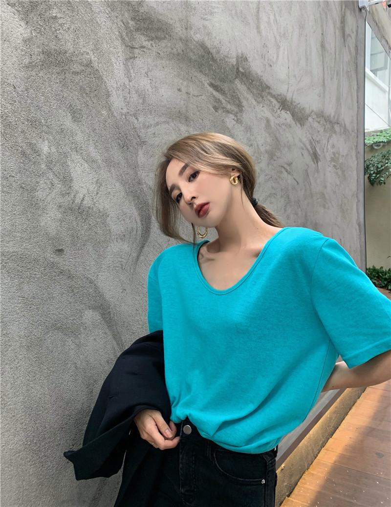 IELGY T恤女v領黑色寬松基礎款chic韓風薄款短袖打底衫上衣2021夏季新