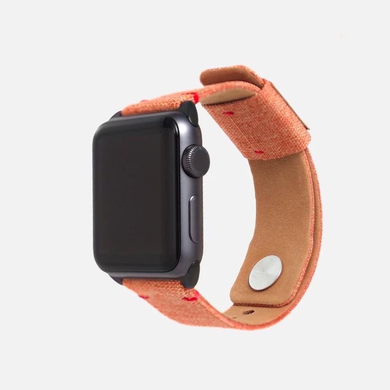 【預購】Apple Watch 帆布錶帶 - 芒果橙 38mm|40mm、太空灰錶扣