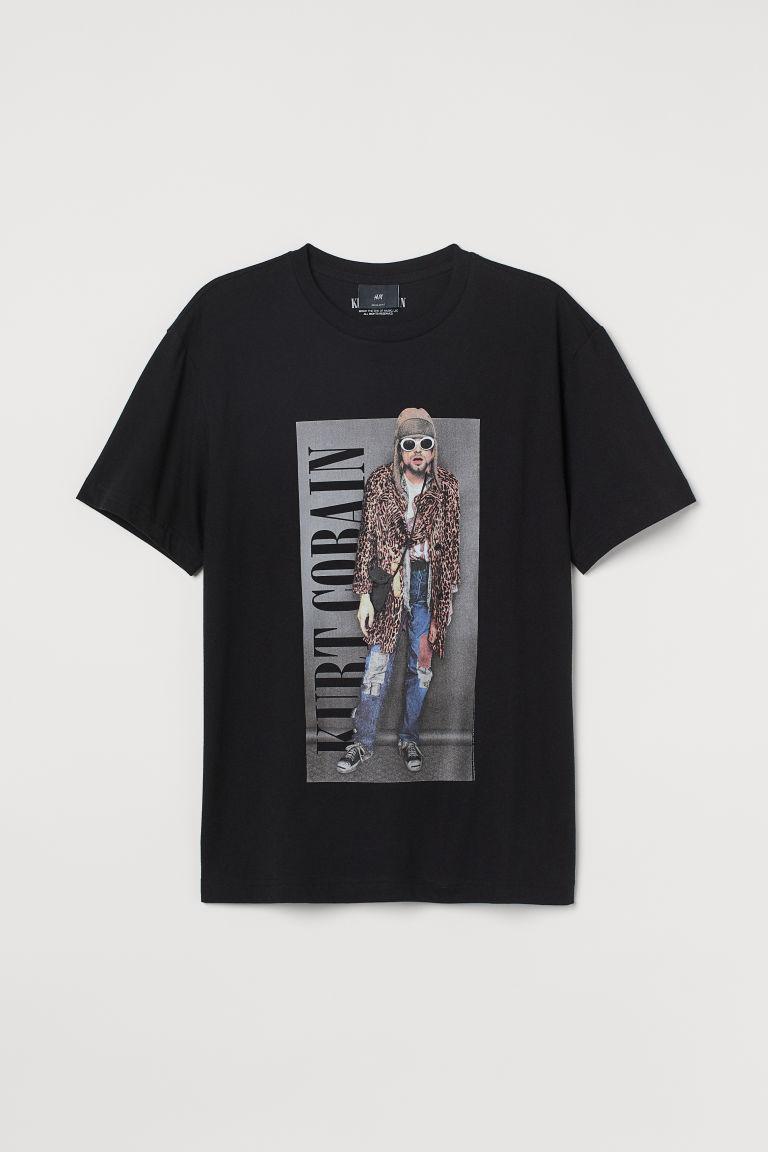 H & M - 標準剪裁T恤 - 黑色