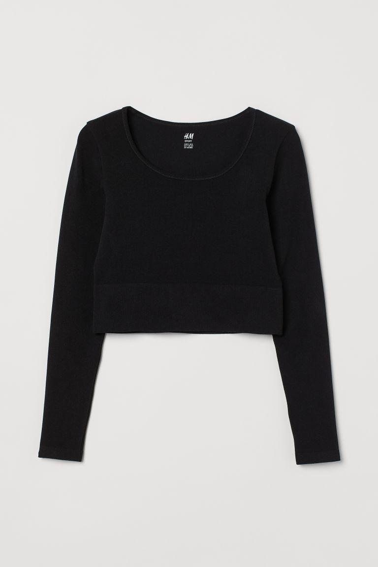 H & M - 短版無痕運動上衣 - 黑色