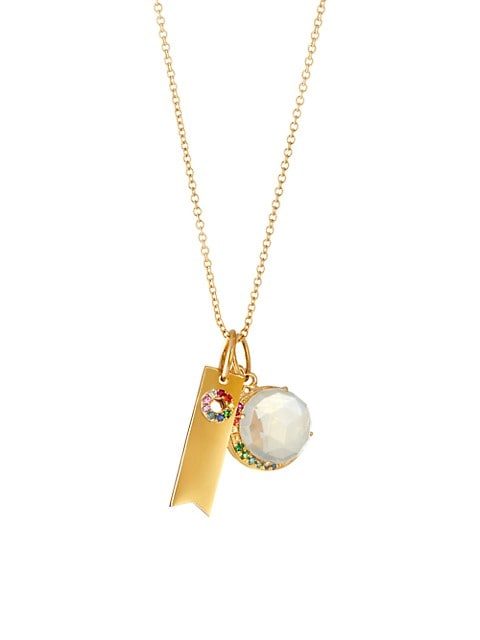 14K & 18K Yellow Gold & Multicolor-Stone Ribbon Tag & Moon 2-Charm Necklace