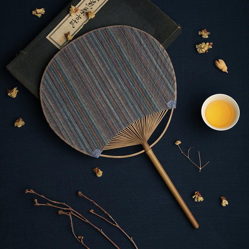 蒲扇 棉麻手工團扇中式古風中國風布藝蒲扇圓形古典扇手繪夏季竹柄扇子