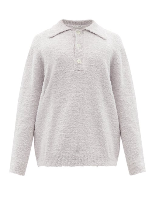 Our Legacy - Big Piquet Brushed-cotton Polo Shirt - Mens - Light Grey