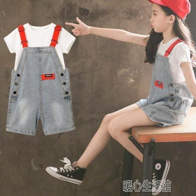 背帶褲女童夏裝兒童牛仔背帶短褲套裝新款韓版女孩超洋氣短袖兩件套 快速出貨