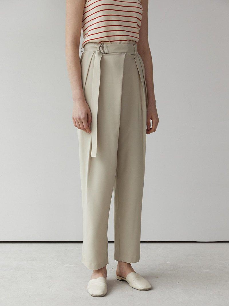 貝果色 2色 必入推薦 日本進口面料斜襟立體褶腰帶闊腿褲 D型腰帶