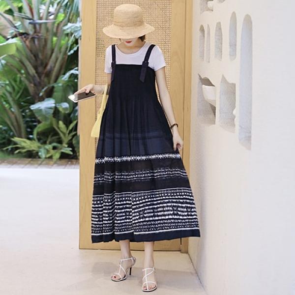 吊帶裙-刺繡復古寬鬆壓褶牛仔洋裝74ad15【巴黎精品】
