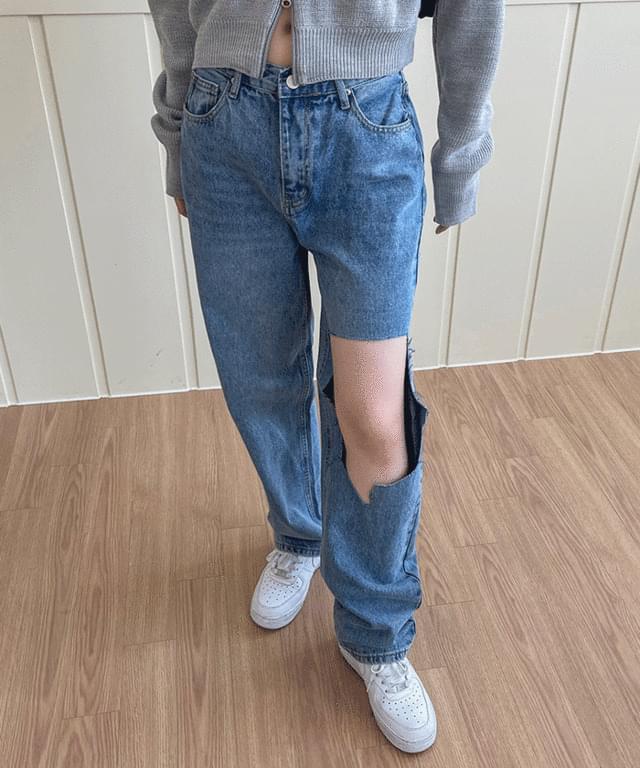 韓國空運 - Mapine destroyed wide denim trousers 牛仔褲