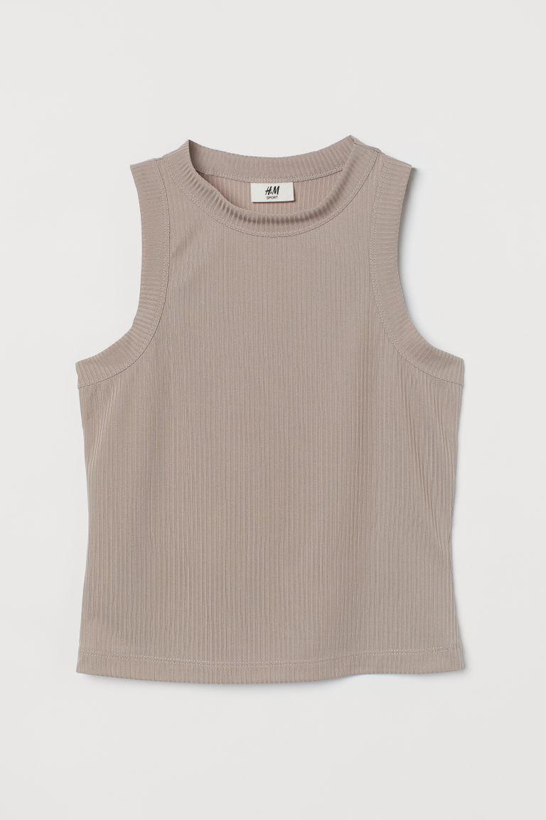 H & M - 羅紋運動上衣 - 褐色