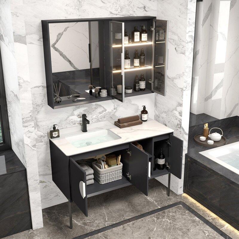 新中式巖板浴室柜組合自動感應燈衛生間洗手洗臉臺盆柜衛浴洗漱臺【艾莎嚴選】