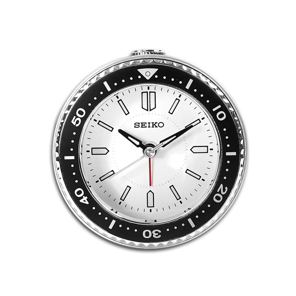 SEIKO 精工 / 潛水錶造型 滑動式秒針 燈光照明 貪睡鬧鈴 指針靜音鬧鐘 / 白色 / QHE184J