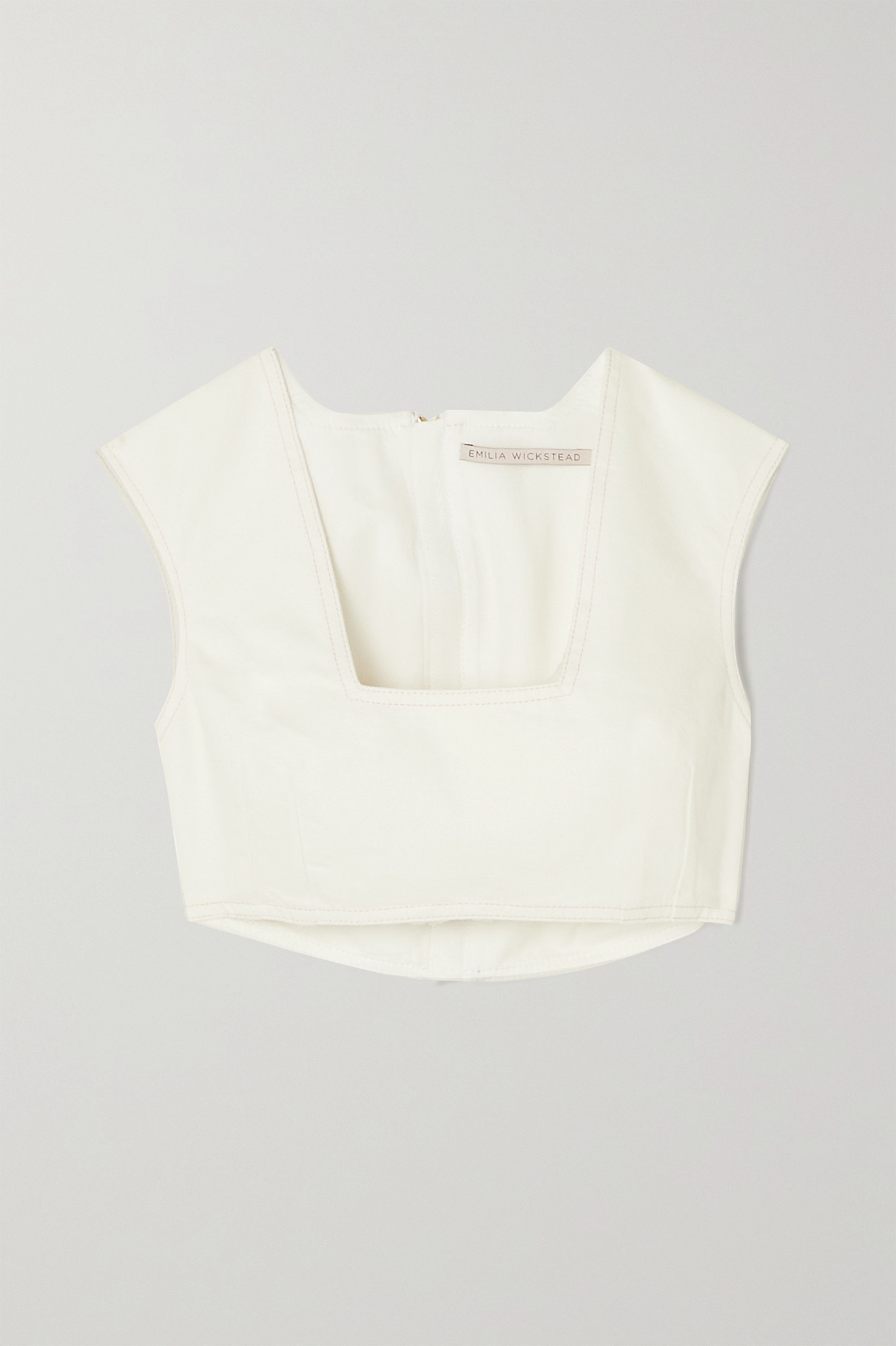EMILIA WICKSTEAD - Saffa Cropped Denim Top - White - UK8