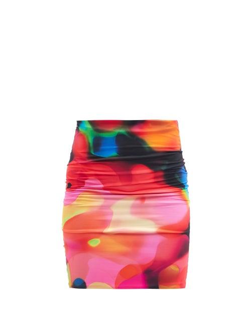The Attico - Psychedelic-print Jersey Mini Skirt - Womens - Multi