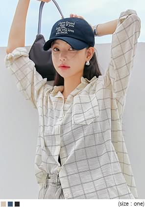 韓國空運 - 字句刺繡後釦棒球帽 帽子
