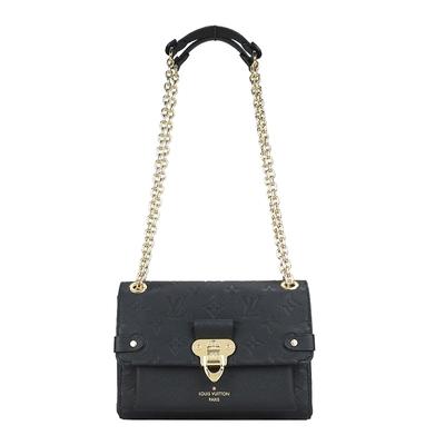 Louis Vuitton VAVIN BB 經典LOGO壓紋皮革鏈帶條包(黑)