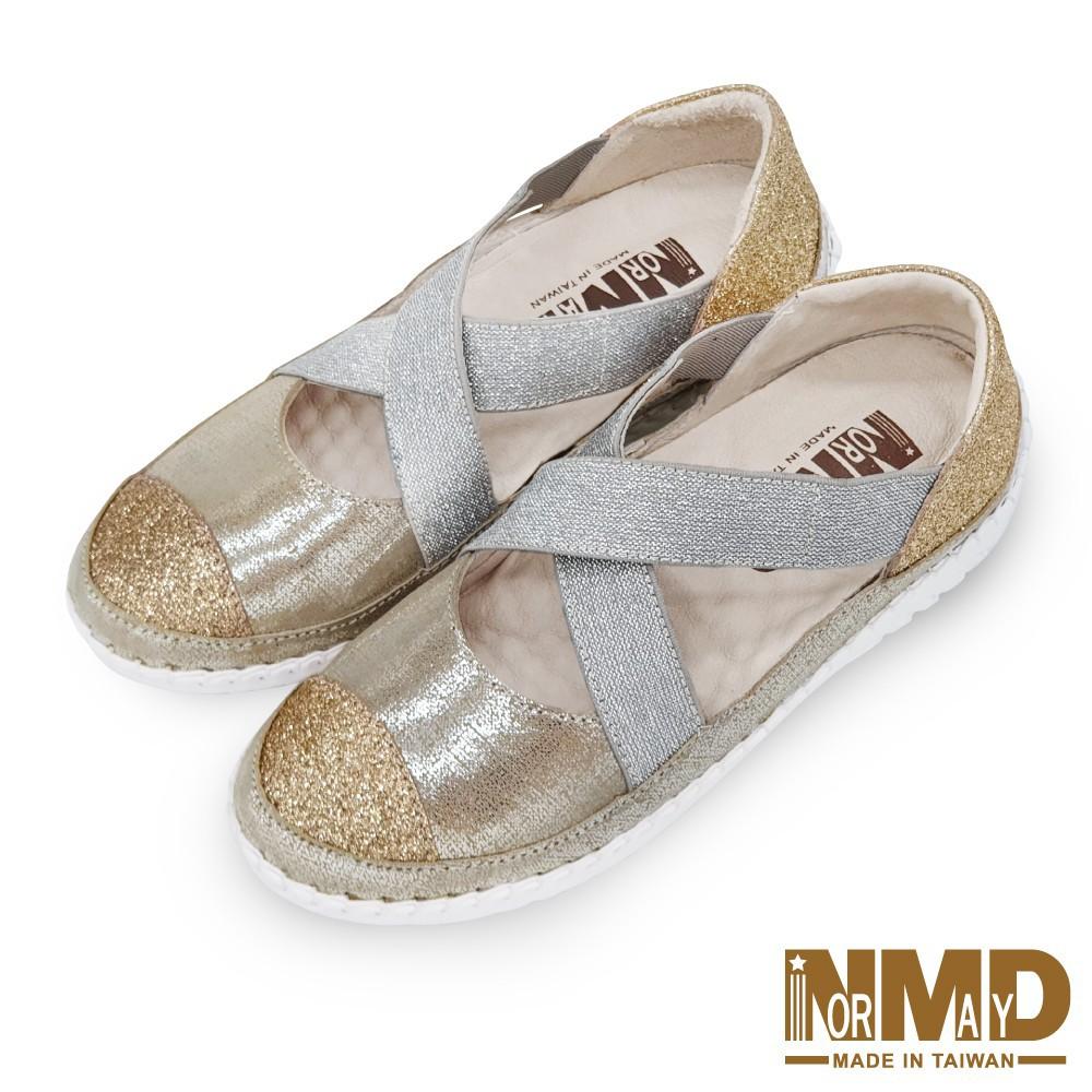 諾曼地Normady 女鞋 涼鞋 休閒鞋 懶人鞋 MIT真皮鞋 瑪莉珍高階版磁力厚底內增高球囊氣墊鞋(迷戀金)