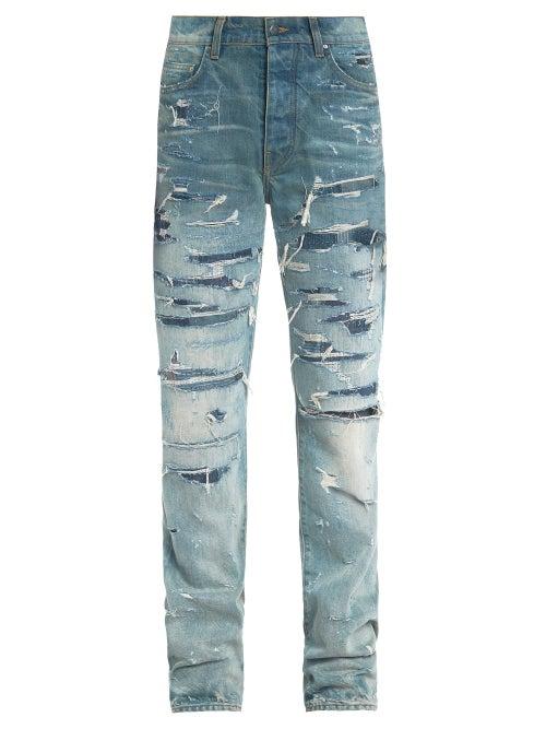 Amiri - Boro Distressed Patchwork Slim-leg Jeans - Mens - Blue