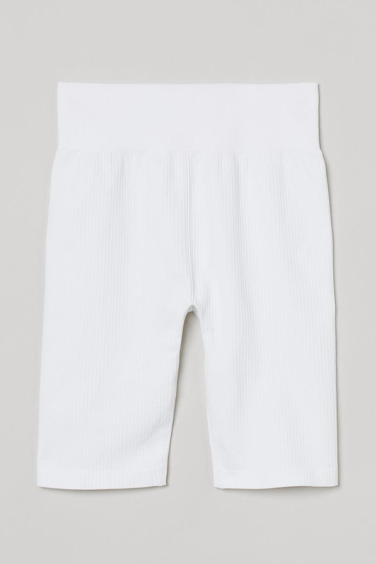 H & M - 無痕騎士短褲 - 白色