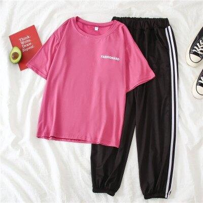 新品上架 套裝兩件套~春九分褲短袖時尚運動套裝女學生TMD070B