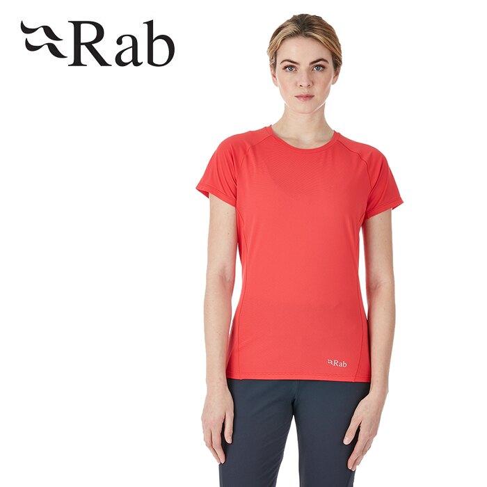 【Rab 英國】Force 短袖排汗衣 登山排汗衣 機能衣 運動上衣 女款 牡丹桃 (QBU-56)