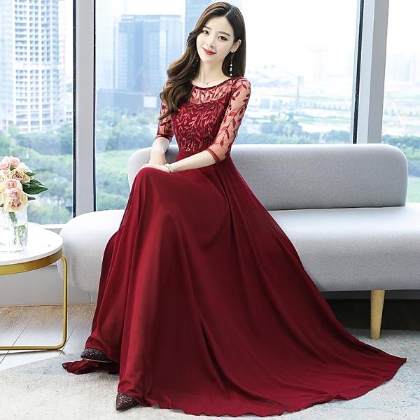 洋裝小禮服 韓系雪紡亮片拼接收腰連身長裙 花漾小姐【預購】
