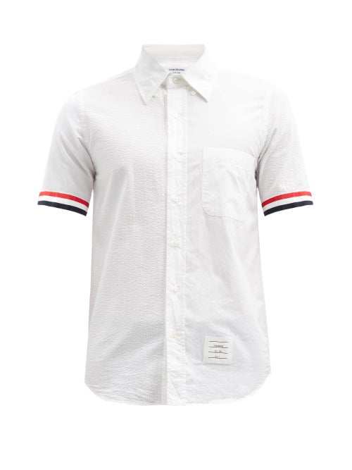 Thom Browne - Fun-mix Stripe-tipped Panelled Cotton Shirt - Mens - White