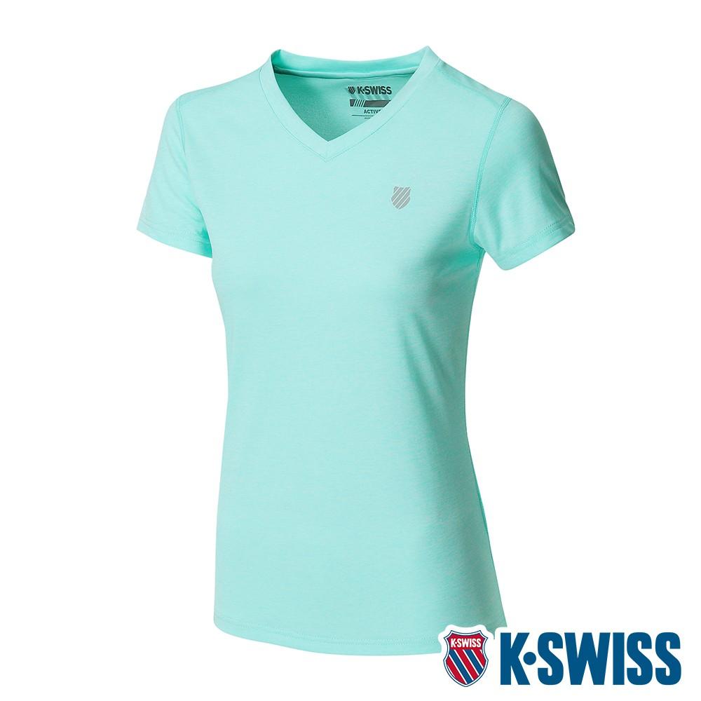 K-SWISS Heather V Neck Tee涼感排汗V領T恤-女-薄荷綠