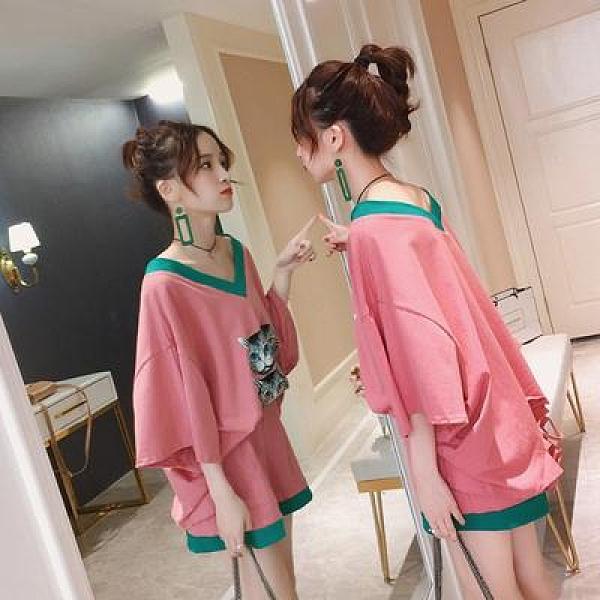 大尺碼套裝~大碼女裝胖MM裝洋氣減齡兩件套妹妹胖人寬松時尚套裝潮M2F-B142胖妞衣櫥