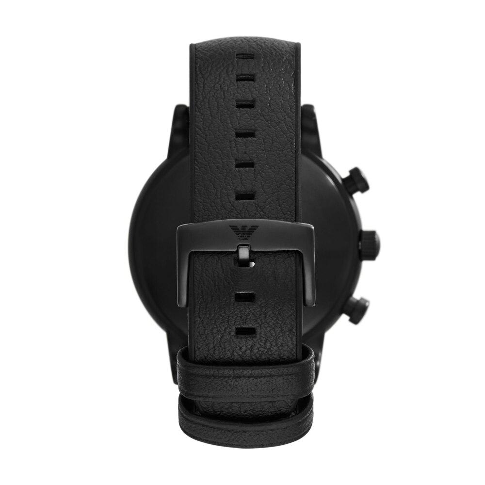 EMPORIO ARMANI經典黑鋼藍面計時腕錶46mm(AR11351)