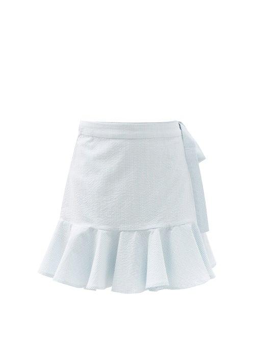 Casa Raki - Agnostia Gingham Organic-cotton Mini Wrap Skirt - Womens - Light Blue