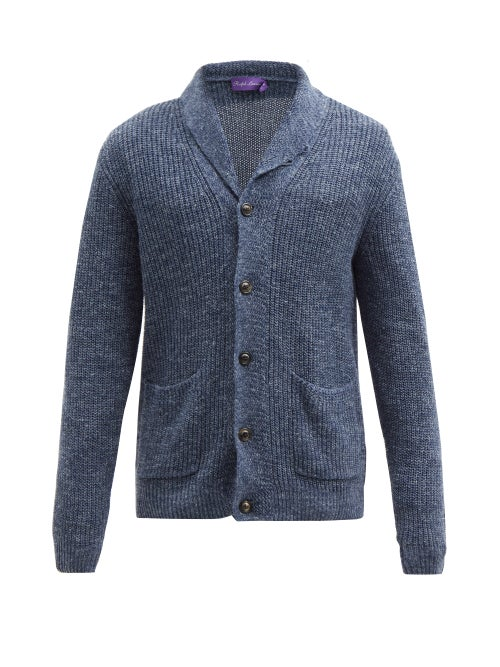 Ralph Lauren Purple Label - Shawl-lapel Silk-blend Cardigan - Mens - Indigo