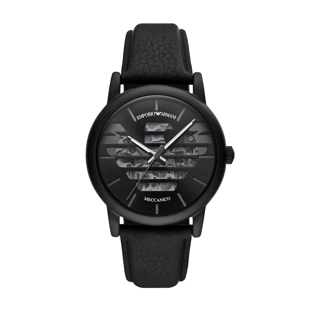 EMPORIO ARMANI 經典Luigi 老鷹壓紋縷空機械腕錶43mm(AR60032)
